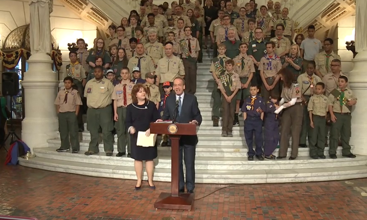 (HARRISBURG) – Today, approximately 100 Boy Scouts and leaders from across the Commonwealth gathered at the state Capitol Building to mark the first annual Boy Scout Day at the Capitol.